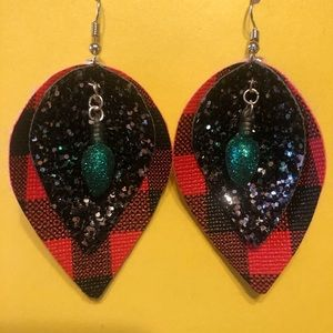 Layered leather earrings w/ Christmas light accent